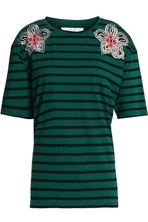 SANDRO Paris Appliquéd striped cotton-jersey top