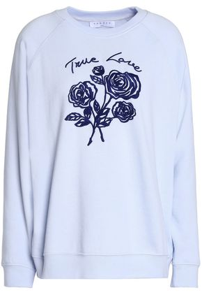 SANDRO Paris Embroidered French cotton-blend terry sweatshirt