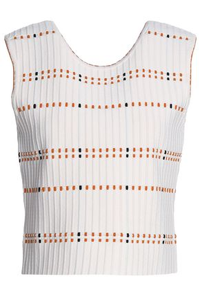 SANDRO Paris Ribbed stretch-ponte top