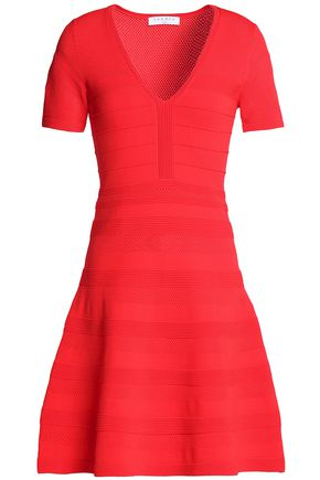 SANDRO Ribbed, pointelle and stretch-knit dress