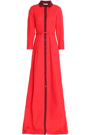 OSCAR DE LA RENTA Belted cotton-blend poplin gown