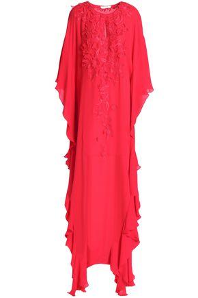 OSCAR DE LA RENTA Draped embroidered silk gown
