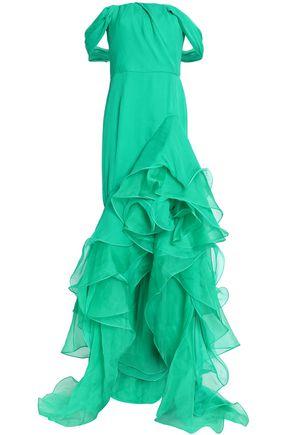 OSCAR DE LA RENTA Strapless ruffled neon silk-georgette gown