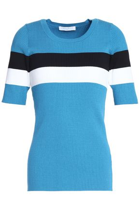 SANDRO Striped stretch-knit top