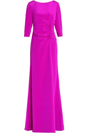 OSCAR DE LA RENTA Ruched neon silk-satin maxi dress