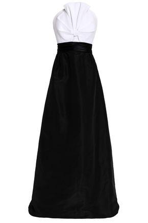 OSCAR DE LA RENTA Strapless knotted Pima cotton-piqué and duchesse-satin gown