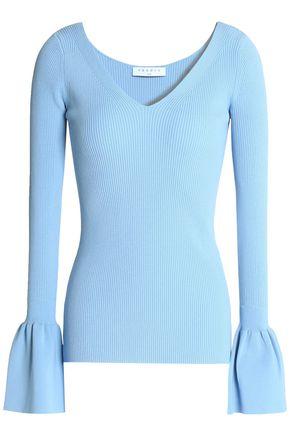 SANDRO Paris Flared ribbed-knit top