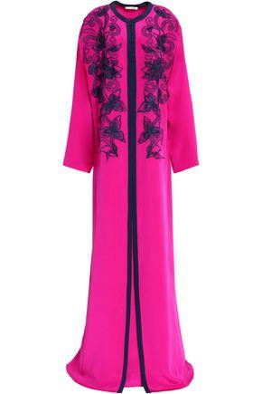 OSCAR DE LA RENTA Embroidered silk gown