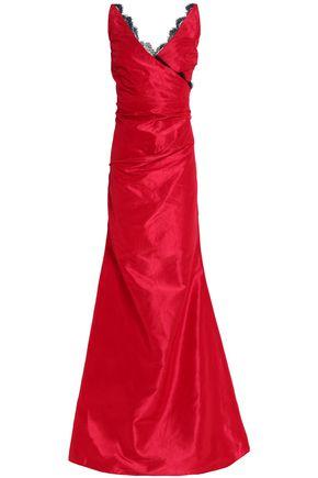 OSCAR DE LA RENTA Wrap-effect lace-trimmed silk-taffeta gown