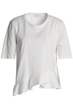 SANDRO Paris Ruffled cotton-jersey top