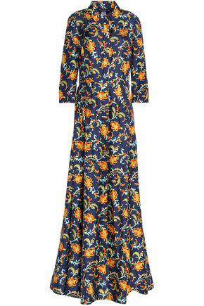 OSCAR DE LA RENTA Floral-print silk-twill maxi shirt dress