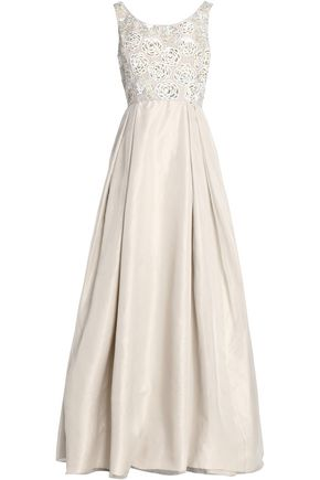OSCAR DE LA RENTA Sequined pleated organza gown