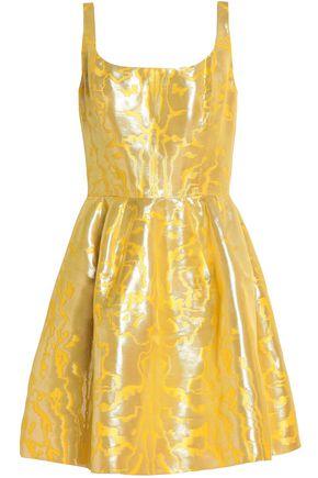 OSCAR DE LA RENTA Pleated metallic jacquard mini dress