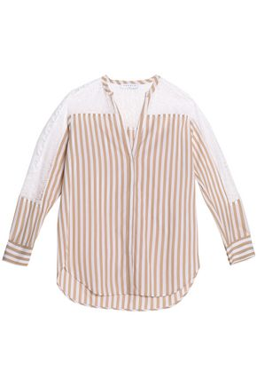 SANDRO Paris Lace-paneled striped cotton top