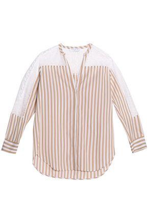 SANDRO Paris Lace-paneled striped cotton top