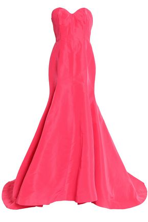 OSCAR DE LA RENTA Strapless silk duchesse-satin gown