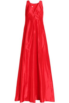 OSCAR DE LA RENTA Pleated silk-taffeta gown