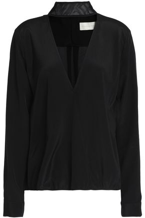 MICHELLE MASON Lace-trimmed silk crepe de chine blouse