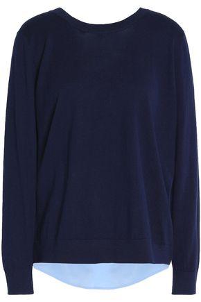 SANDRO Paris Crepe de chine-paneled cotton, silk and cashmere-blend top