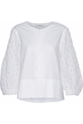 TIBI Cloqué-paneled cotton-poplin top