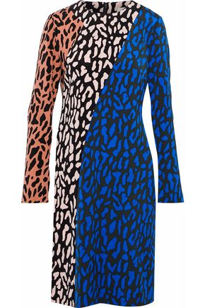 DIANE VON FURSTENBERG Leopard-print color-block cady dress