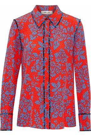 DIANE VON FURSTENBERG Floral-print silk crepe de chine shirt