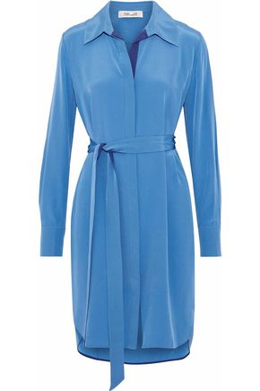DIANE VON FURSTENBERG Washed-silk mini shirt dress