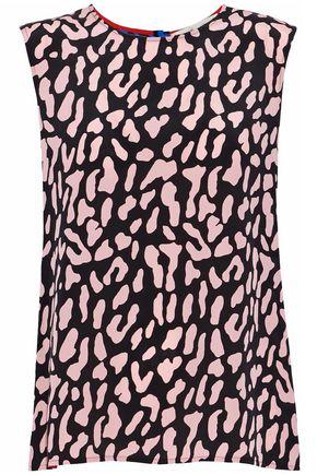 DIANE VON FURSTENBERG Leopard-print two-tone silk top