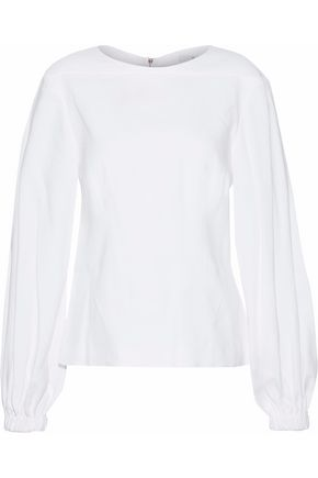 TIBI Gathered linen-blend top