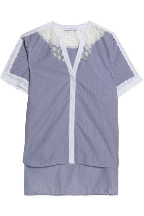 SANDRO Lace-paneled pinstriped cotton-poplin top