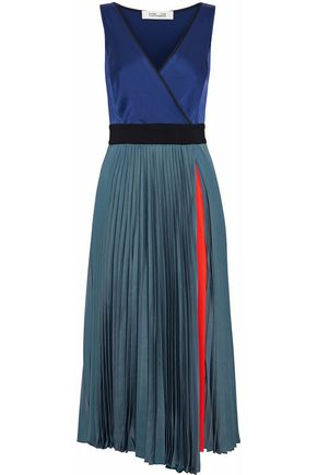 DIANE VON FURSTENBERG Color-block satin and pleated mesh wrap dress