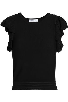 SANDRO Paris Kaili ruffled stretch-knit top