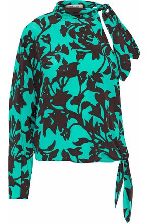 DIANE VON FURSTENBERG Asymmetric floral-print silk crepe de chine top