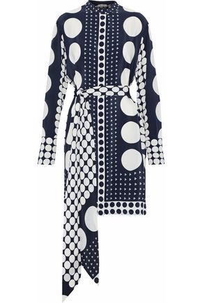 DIANE VON FURSTENBERG Belted printed silk crepe de chine mini dress