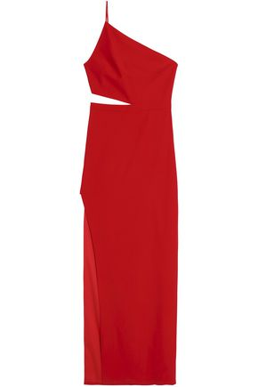 MICHELLE MASON One-shoulder cutout crepe gown