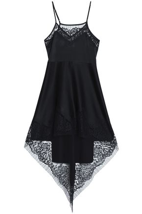 MICHELLE MASON Asymmetric lace-trimmed silk-satin mini dress