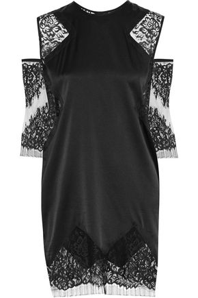 MICHELLE MASON Cold-shoulder lace-trimmed silk-blend dress
