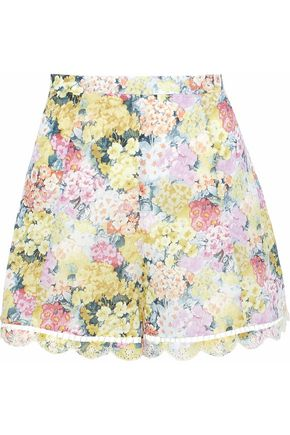 ZIMMERMANN Floral-print broderie anglaise cotton shorts