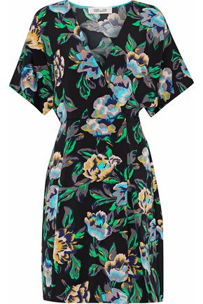 DIANE VON FURSTENBERG Wrap-effect floral-print cady mini dress