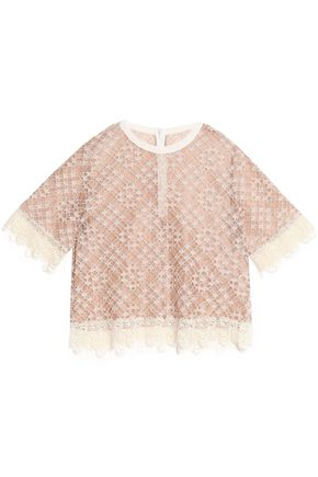 SANDRO Paris Cotton-blend corded lace top