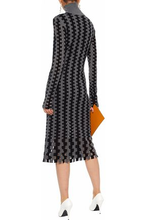 aaba1e520d66 ... DIANE VON FURSTENBERG Cutout intarsia merino wool turtleneck dress