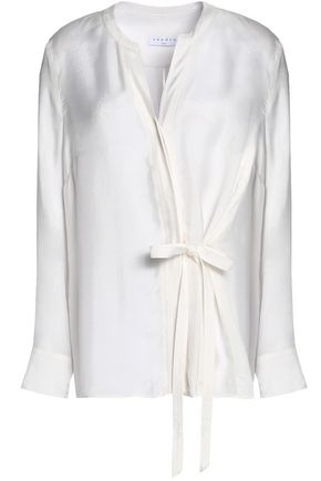 SANDRO Wrap-effect satin-twill top