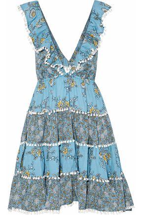 ZIMMERMANN Caravan open-back ruffled floral-print cotton mini dress
