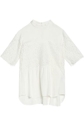 SANDRO Corded lace-paneled crepe de chine top