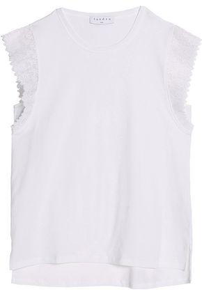 SANDRO Paris Lace-trimmed cotton-jersey top