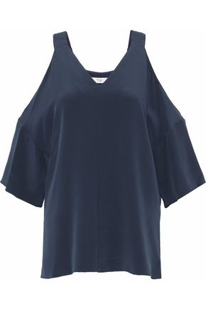 TIBI Cold-shoulder silk top