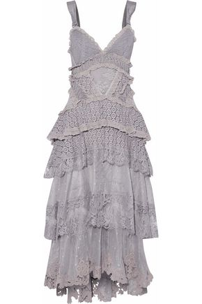 ZIMMERMANN Tiered ribbed-knit-paneled Swiss-dot tulle and lace midi dress