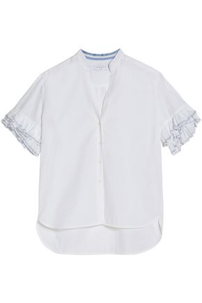 SANDRO Ruffle-trimmed cotton-poplin top