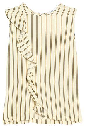 SANDRO Paris Ruffle-trimmed striped crepe de chine top