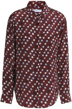 SANDRO Paris Printed silk crepe de chine shirt